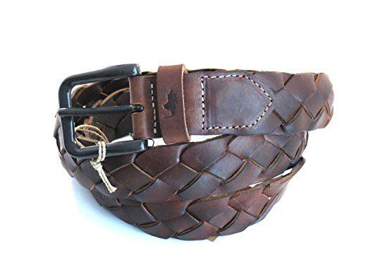 MCS Marlboro Classics Cintura in pelle intrecciata per uomo di colore marrone scuro L/95