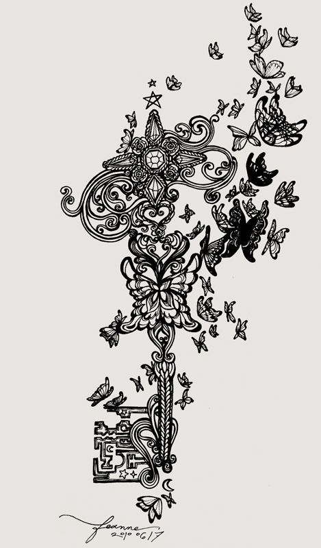 134 best keys images on pinterest drawings key for Garden tattoos designs
