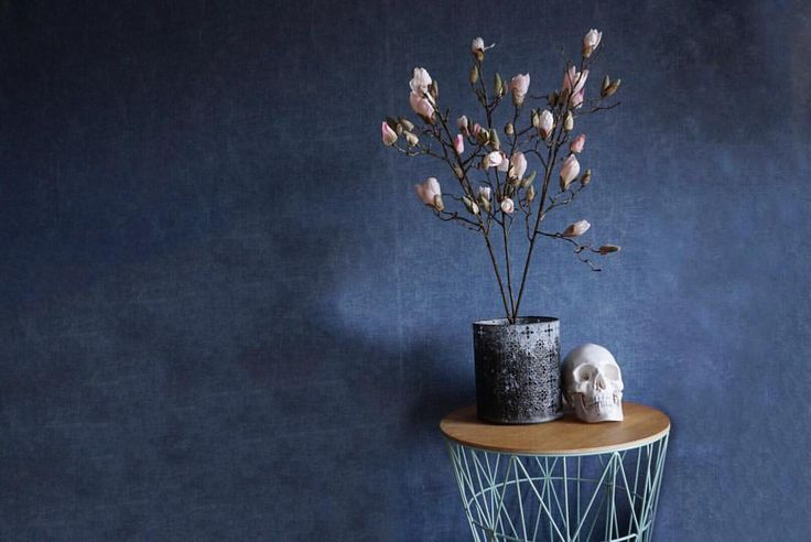 "Christineagkh on Instagram: ""🏆 Simplicity 🏆 Now this photo tells a little lie, there is usually an antique chair next to this table to give it all a warmer feeling. However I am such a fan of this blue denim wallpaper, and what it does to my home and the interior that it needed some space to flaunt it's full potential on a bare wall. Inspo!"