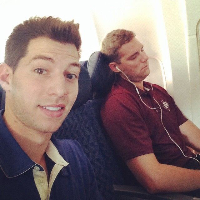 """Codes and I on our way to LA for the @streamys to rep @DudePerfect as """"Best Sports Series"""" nominees! I'm a professional sleeper but @cody_jones_ has me beat. Asleep before takeoff 100% of the time. #ExitRowFTW"""