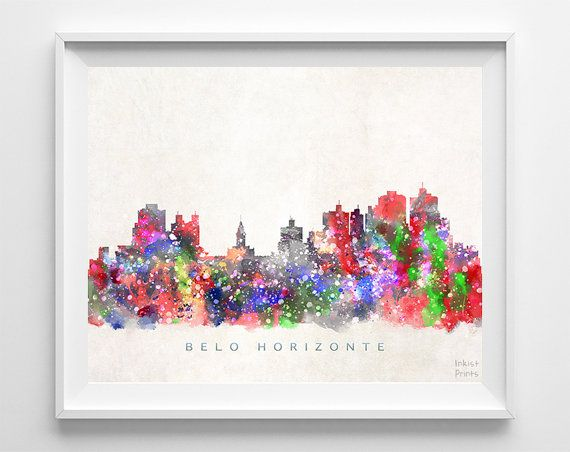 Belo Horizonte Skyline Print Brazil Belo Horizonte by InkistPrints