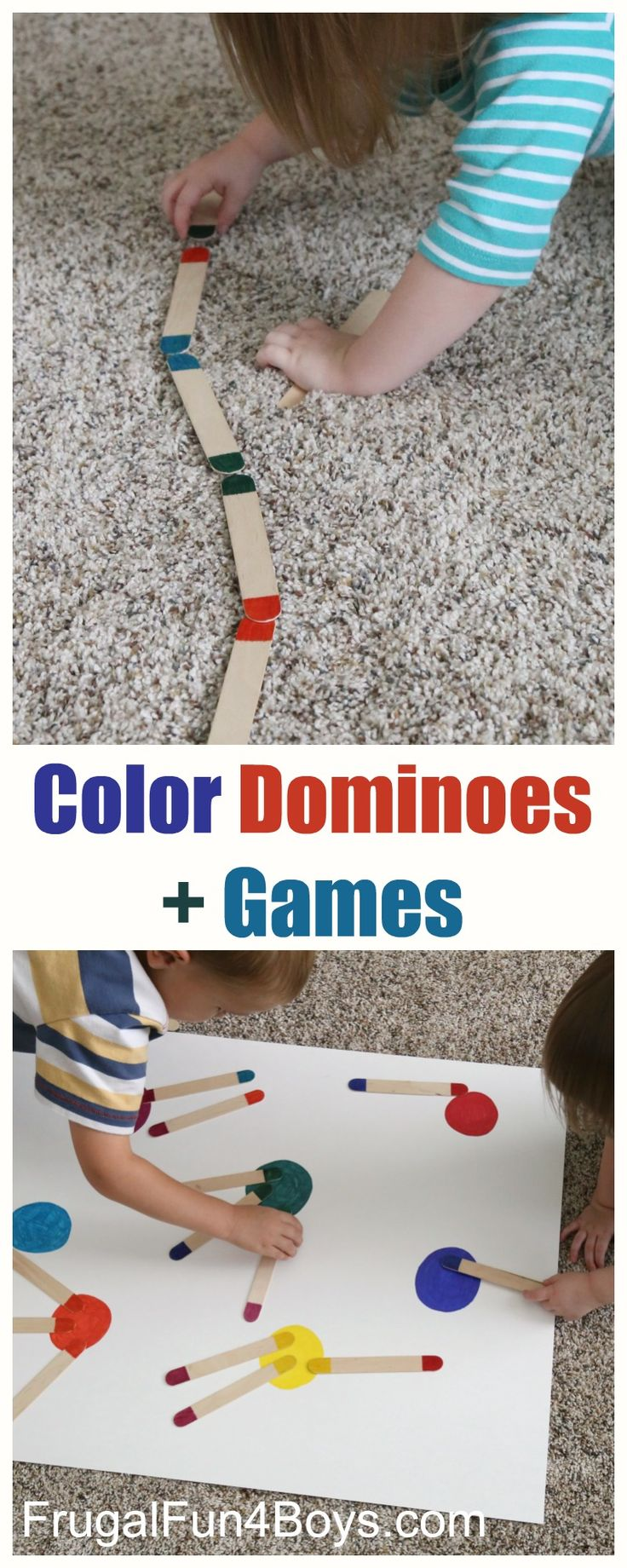 Craft Stick Color Dominos plus games to play with them.   Perfect busy bag idea for preschoolers!