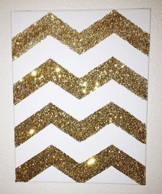 Gold Chevron Canvas Art Painting on Etsy, $18.99