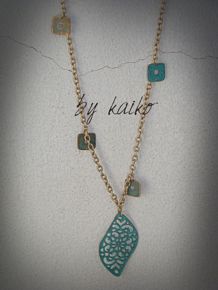 Boho necklace,hippie necklace,antique brass pendant,gift for her,bohemian jewelry by bykaiko on Etsy