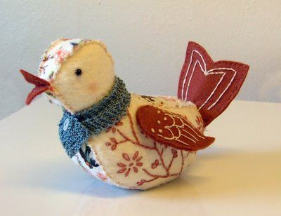 Embroidered Felt Bird (so cute!)