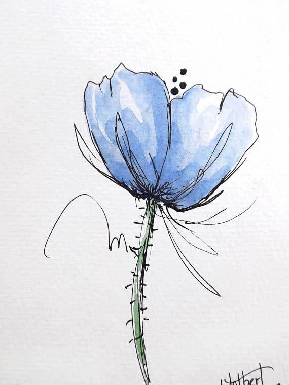Fleur de pavot bleu aquarelle originale, peinture stylo et encre l'eau couleur Art peint sur fleur de coquelicot