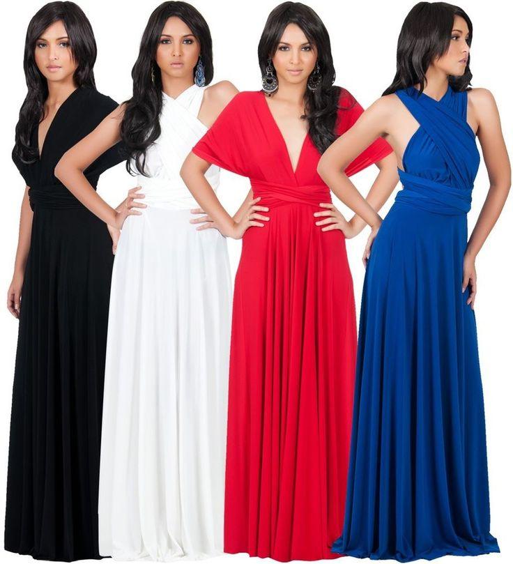 NEW Womens Bridesmaid Infinity Convertible Wrap Long Maxi Dress XS S M L XL 2X  #KohKoh #ConvertibleWrapDress #Cocktail