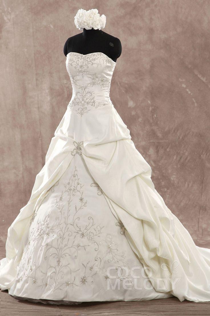 Fancy a line sweetheart chapel train satin ivory in stock for Sweetheart corset wedding dress