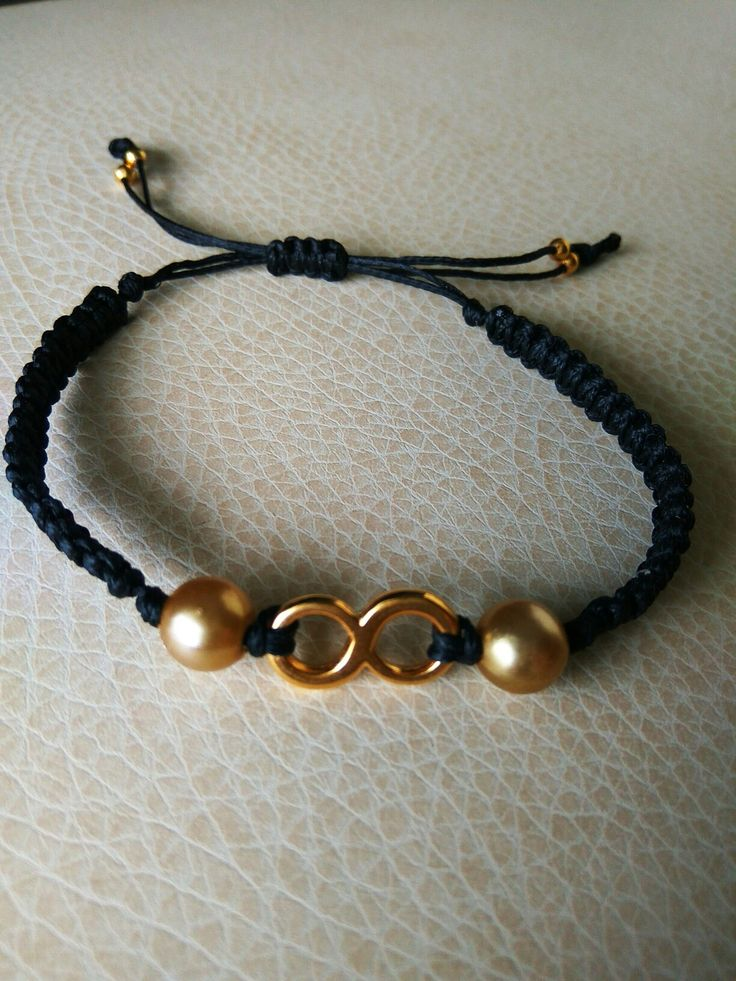 Black and gold macrame bracelet with gold Infinity