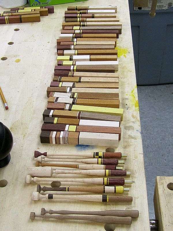 Laminated pen blanks waiting to be turned into beautiful calligraphy pens.