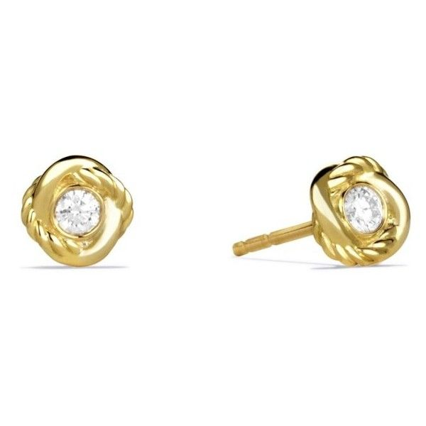 Women's David Yurman 'Infinity' Earrings With Diamonds In Gold ($925) ❤ liked on Polyvore featuring jewelry, earrings, diamond, infinity earrings, diamond infinity earrings, 18k yellow gold earrings, 18k diamond earrings and yellow gold diamond earrings
