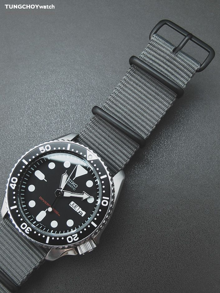 MiLTAT 22mm G10 Military Watch Strap Ballistic Nylon Armband, PVD - Military Grey on skx007  #seiko #seikodiver #skx007 #watchband #nato #natostrap #watchstrap #men #menfashion