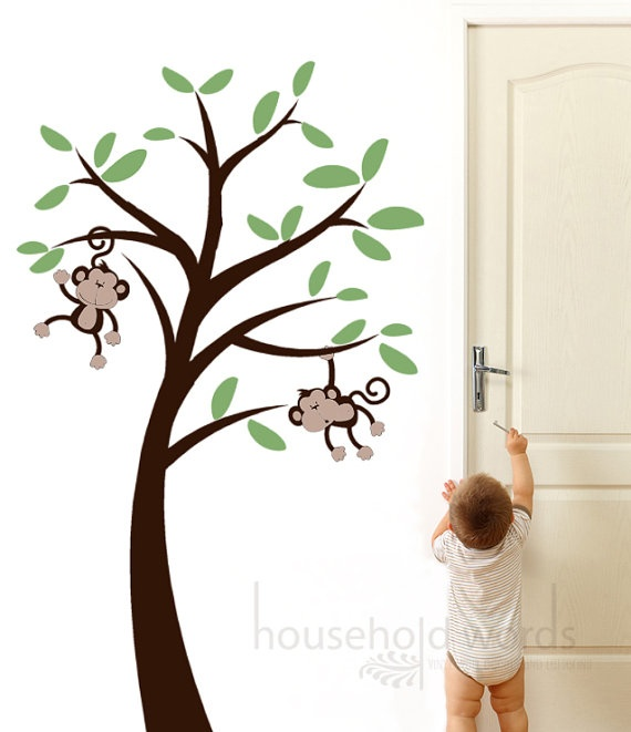 Monkey Wall Decal Kids Nursery tree vinyl by HouseHoldWords, $73.00