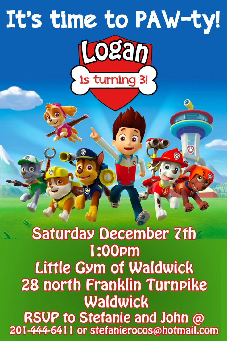 It is a picture of Delicate Printable Paw Patrol Birthday Invitations