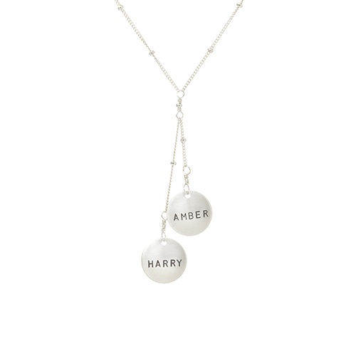 Personalized (2) Intertwined Disc Necklace