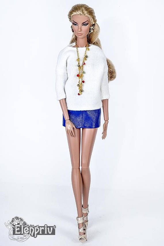 ELENPRIV white jersey pullover for Fashion Royalty FR2 and
