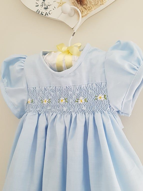 Blue Hand-Smocked and Embroidered Dress for Toddler Girls Girls Smocked Dress