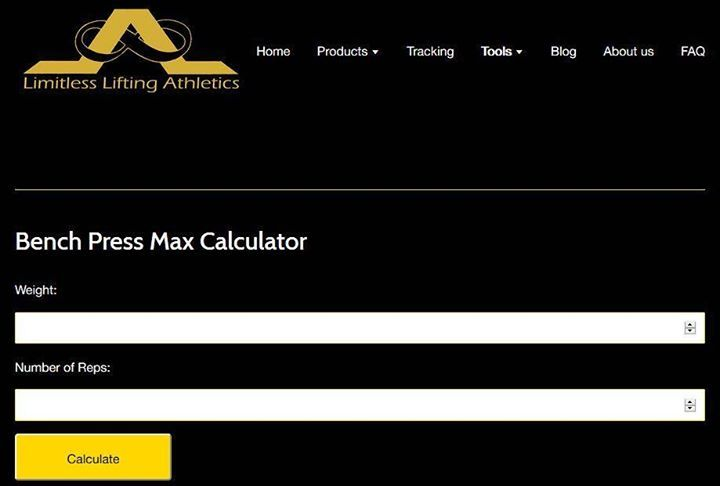 Here at limitless is proud to present our bench press max calculator