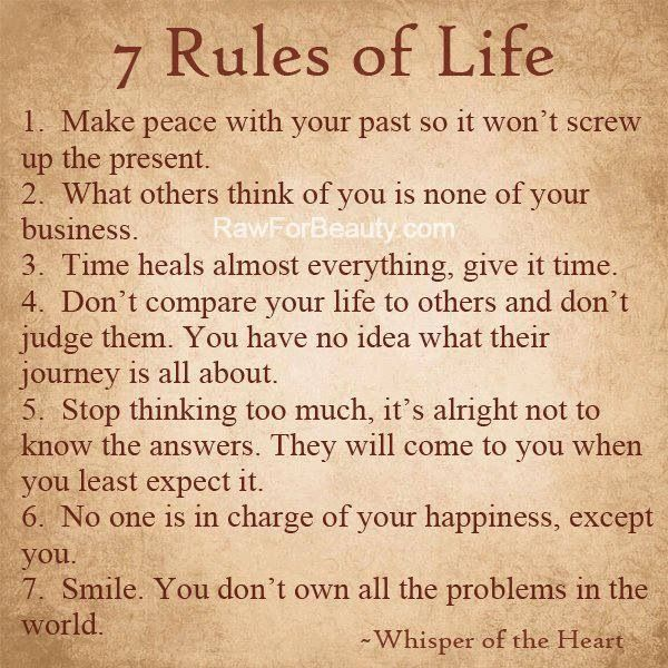 7 Rules Of Life Quote: Good Advice That I Should Follow. It's Never Too Late To