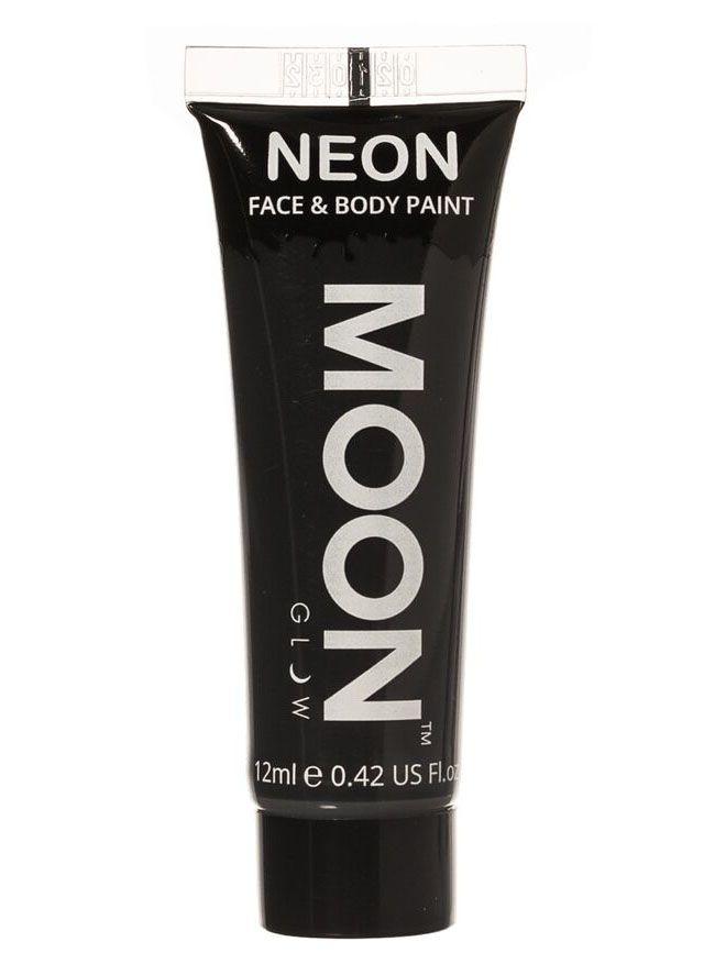 Gel rostro y cuerpo negro UV Moonglow™ 12 ml: Este tubo degelpara cara y cuerpo es de la marcaMoonglow™.Mide 7,5 cm de largo y contiene 12 ml de crema negra que brilla en la oscuridad ultravioleta.Se conserva hasta 12...