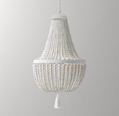 RH Baby & Child's Dauphine Wood Empire Chandelier - Weathered White:With its shapely grandeur, our aged-metal chandelier is adept at transforming an ordinary room into a fairytale setting. Two tiers of wood bead strands lend undeniable elegance.