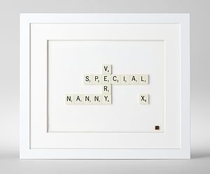 Does your nanny love to play Scrabble with your kids? Give them this great Scrabble framed art this holiday season. #nanny #holiday #gifts