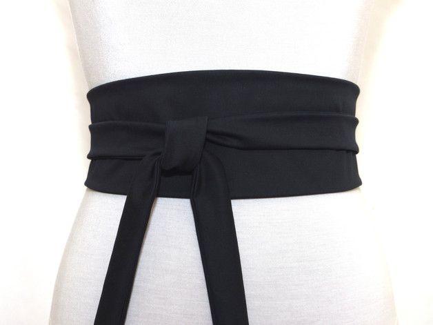 Schwarzer Taillengürtel / Obi Gürtel. 100% Baumwolle Haute Couture