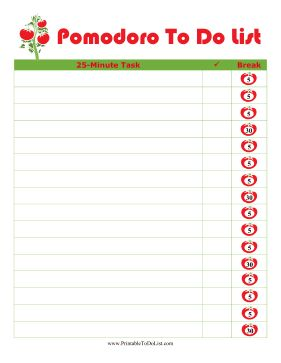 Decorated with a cute tomato plant, this printable to do list follows the Pomodoro technique of working on a task for 25 minutes, followed by a 5 minute break. Free to download and print