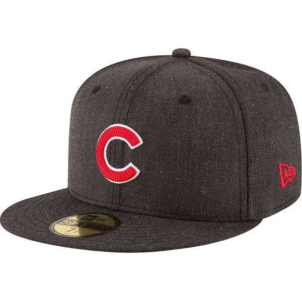 02aed4036e8 Men s Chicago Cubs New Era Heathered Black Crisp 59FIFTY Fitted Hat
