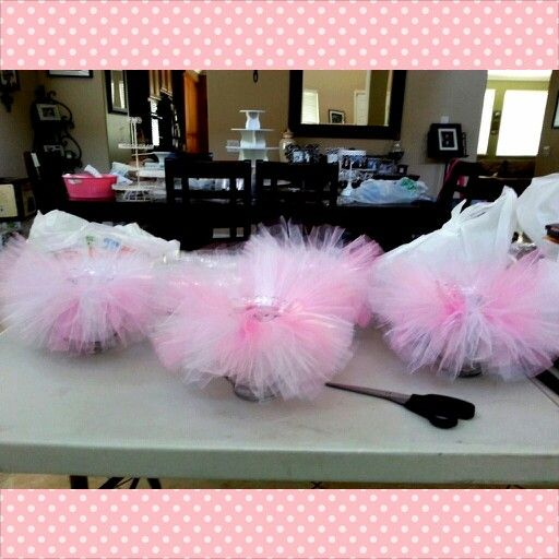 Tutu Centerpieces  You Can Buy Fish Bowls At Dollar Store And Make Tutu  Around The · Decorations For Baby ShowerParties ...