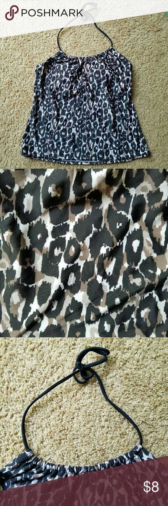 Leopard Tankini Top Black, tan, and brown tankini top. Merona Swim