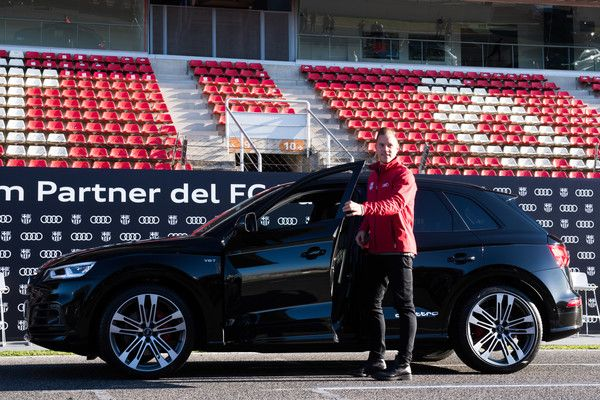 Marc-Andre Ter Stegen of FC Barcelona is presented with his new Audi car during the Audi Car handover to the players of FC Barcelona on November 30, 2017 at Circuit de Barcelona-Catalunya in Montmelo, near Barcelona, Spain.