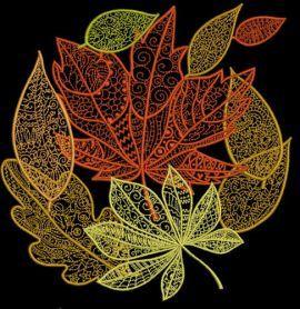Autumn leaves machine embroidery design. Machine embroidery design. www.embroideres.com