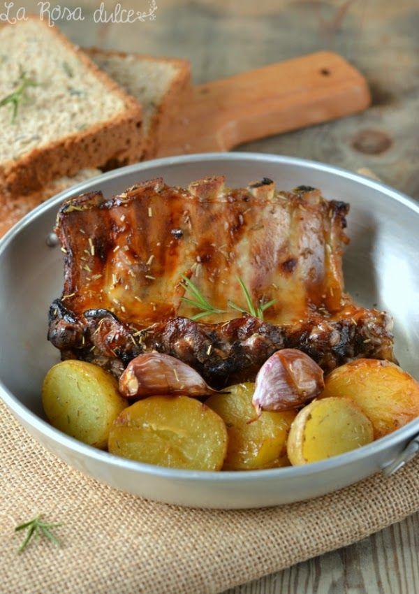 Costillas de cerdo al horno con miel y mostaza