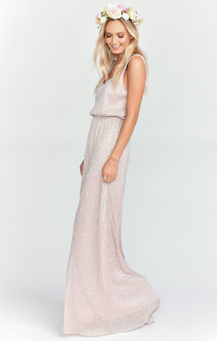 It sounds weird but if the Jocelyn Maxi and the Kiersten Maxi had a baby, it would be ever perfected Kendall Maxi. A soft V neck and low back are ultra feminine and flatter every body (you never know when you're gonna need it). Chill enough for a little pointy toed bootie and classy enough for an elegant heel. Kendall may be a young Mu but she is def on track to be your new go-to maxi. *MADE IN THE GORGE USA*  *50% Poly, 50% Metallic *No slits *Lined to gr...
