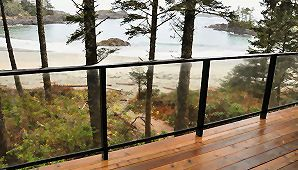 Aluminum deck railings with glass panels or wide style aluminum picket baluster options