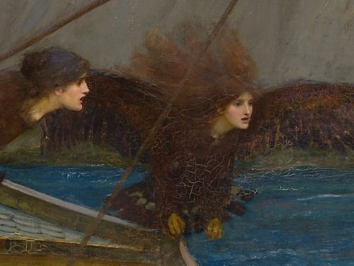 """""""Ulysses and the Sirens"""" [detail] ~John William Waterhouse, 1891. Oil on canvas. National Gallery of Victoria, Melbourne, Australia"""