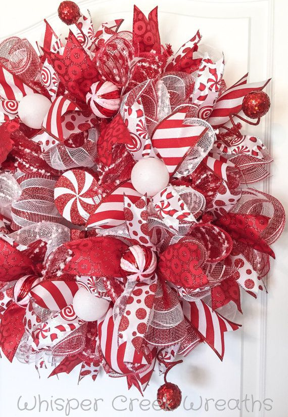 Candy Cane Wreath   Deco Mesh Wreath   Christmas Wreath For Front Door   Red  And White Swirls   Christmas Decoration   Candy Stripe