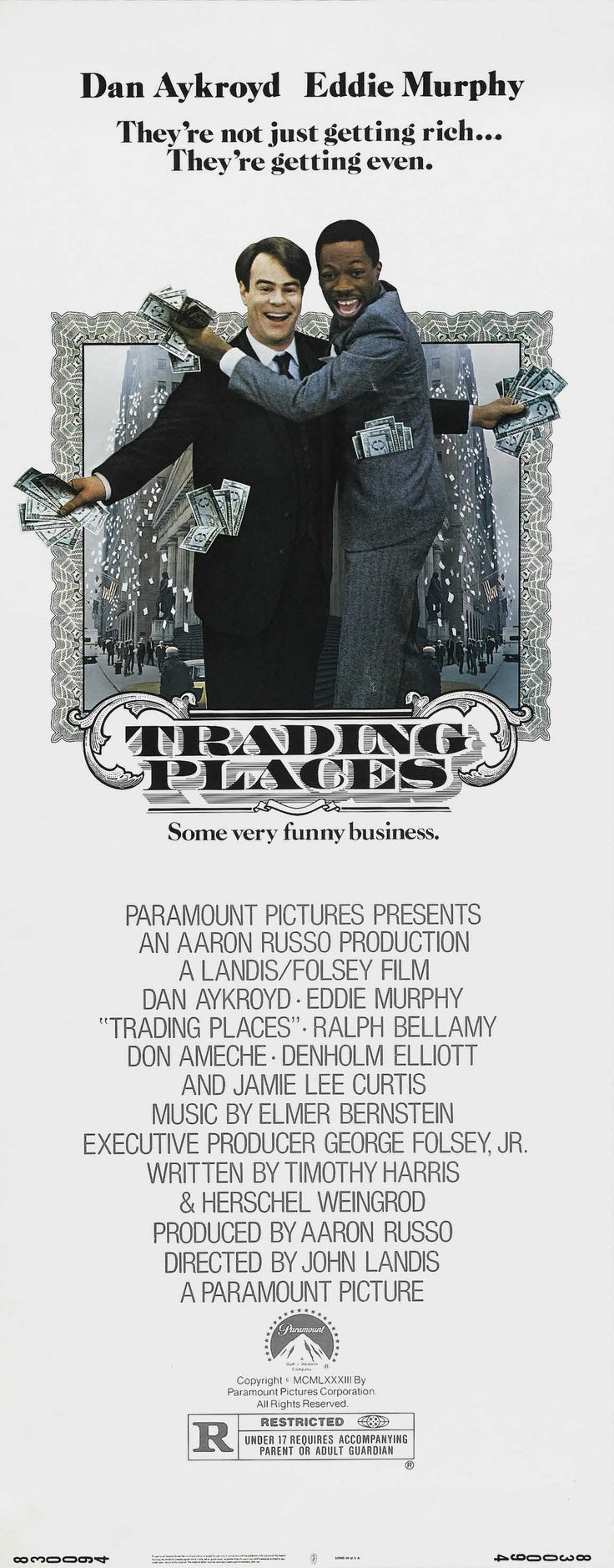 """Trading Places"" (1983). COUNTRY: United States. DIRECTOR: John Landis. CAST: Eddie Murphy, Dan Aykroyd, Jamie Lee Curtis, James Belushi, Don Ameche, Giancarlo Esposito, Kristin Holby, Denholm Elliott"