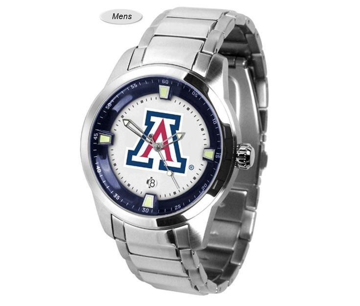 The Titan Steel Arizona Wildcats Watch features a quartz accurate movement, stainless steel band and Wildcats team logo. Very Stylish. Free Shipping.  Visit SportsFansPlus.com for Details.