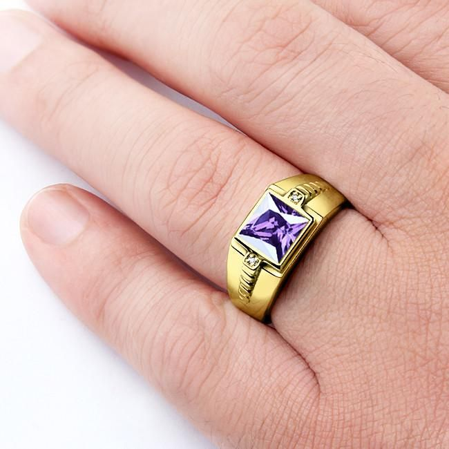 Men S 10k Gold Ring With Natural Diamonds And Purple Amethyst Gemstone Statement Ring For Men Jewelsformen M 10k Gold Ring Purple Amethyst Amethyst Gemstone
