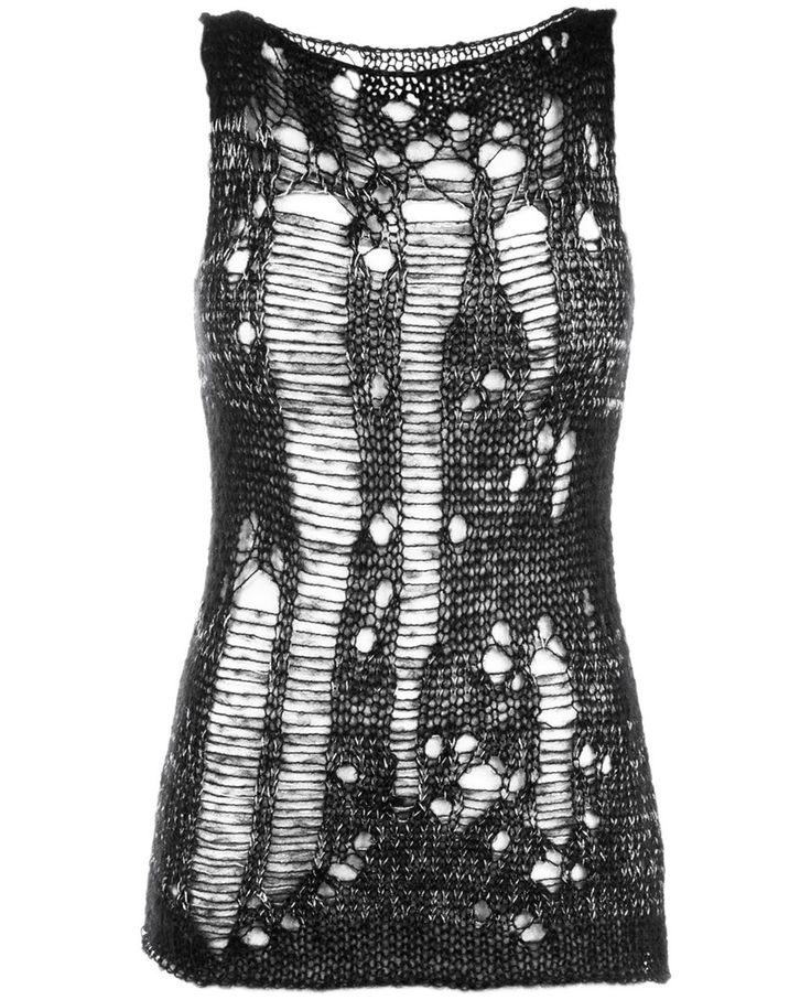 Bassike Black and silver distressed shredded effect tank top