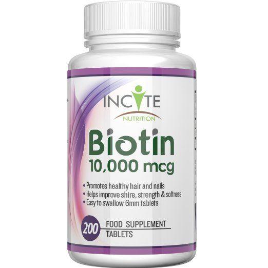 Biotina Crescita Capelli Vitamine 10000MCG 200 6mm Compresse Prodotto nel Regno Unito Scorta 6 Mesi + Migliori Integratori per la Perdita di Capelli Miglior Trattamento di Bellezza per Uomini e Donne - Incite Nutrition Biotina Complesso B7 Meglio dello Shampoo Non 5000MCG Capsule Benefici Capelli Sani , Crescita delle Unghie e Pelle Prodotto nel Regno Unito