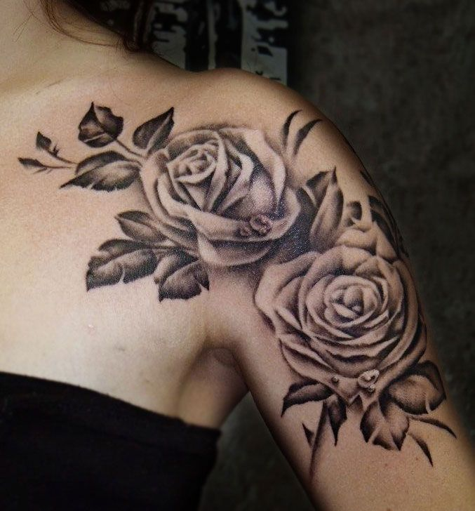 rose shoulder tattoo by Craig