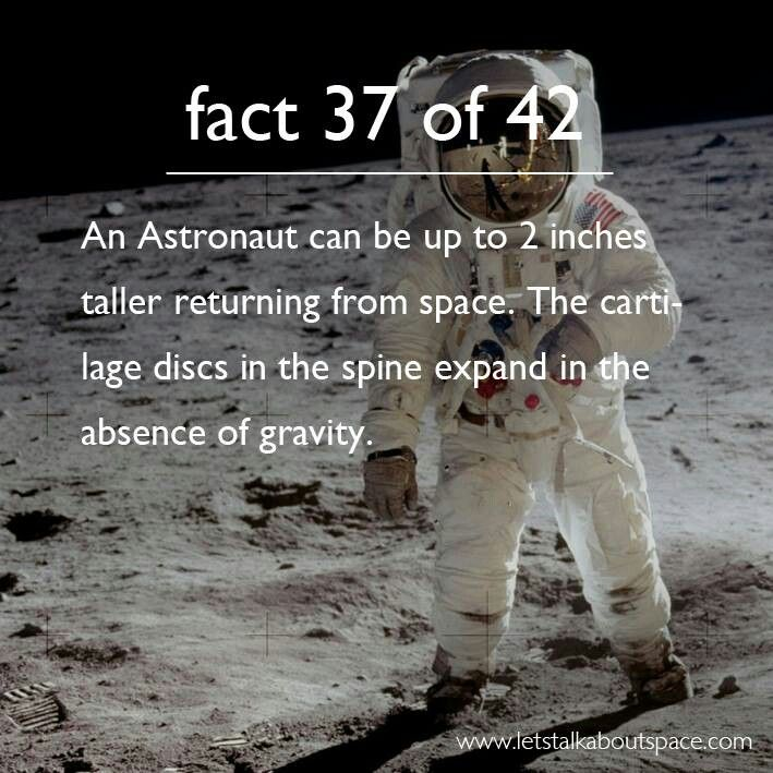 An astronaut can be up to 2 inches taller returning from space.