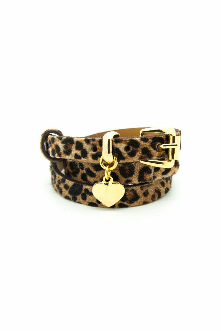 Leopar desenli deri bileklik, altın kaplama kalp aksesuarlı. Armparty. Leather bracelet.