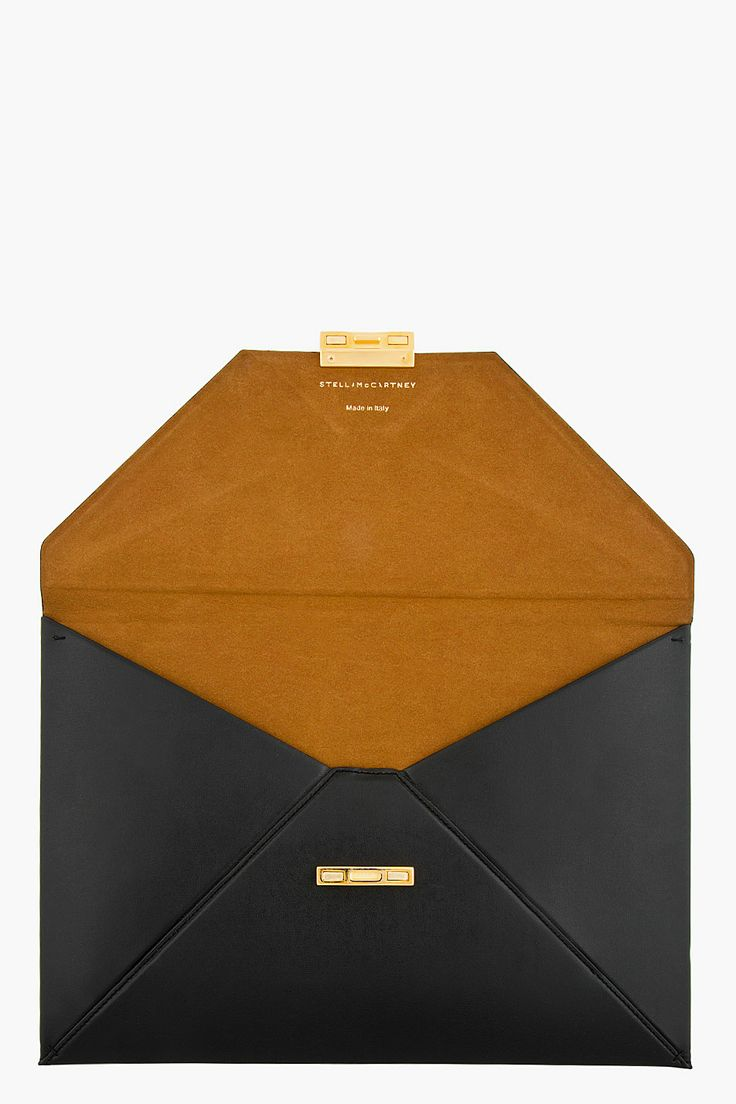 STELLA MCCARTNEY Black Envelope Clutch