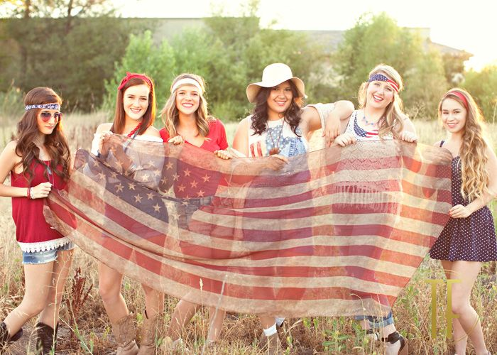 Americana themed photo shoot with a flag scarf from ebay (models for Teri Fode Seniors)