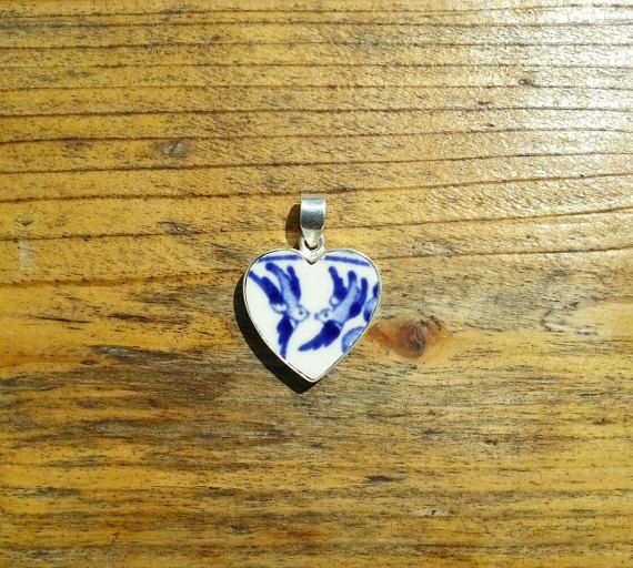 Willow Pattern Sterling Silver Heart