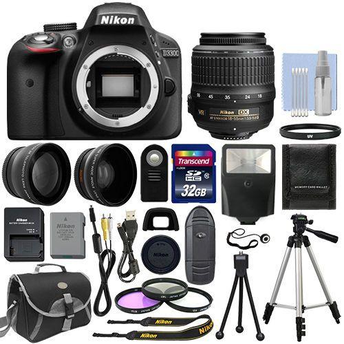 Nikon D3300 Digital SLR Camera Black + 3 Lens: 18-55mm VR Lens + 32GB Bundle #Nikon